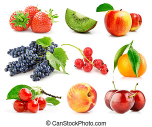 set fresh fruits with green leaves isolated
