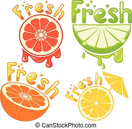 Set fresh grapefruit, lemon, orange, lime