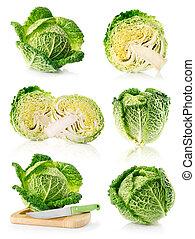 set fresh green cabbage fruits isolated on white