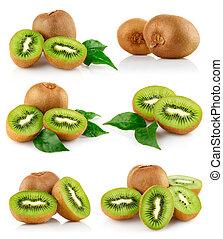 set fresh kiwi fruits with green leaves