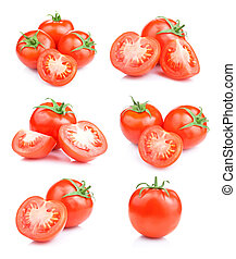 Set fresh red tomato fruits isolated on white background