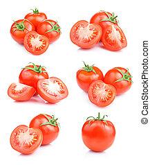Set fresh red tomato fruits isolated on white background