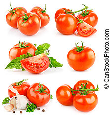 set fresh tomato fruits with green leaves