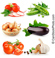 set fresh vegetable fruits with green leaves isolated on white background