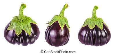 set, fris, aubergine, op, witte achtergrond