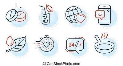 set., friture, amis, tablette, moule, signs., icônes, rosée, feuille, 24/7, service, mondiale, monde médical, minuteur, vecteur