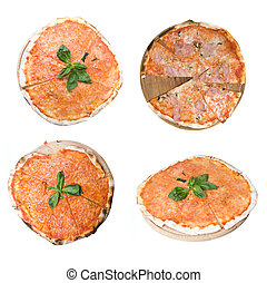 set from 4 full size photos of classic italian pizza