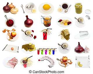 set from different food and drinks items