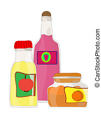 Set from jars with fruit and berry