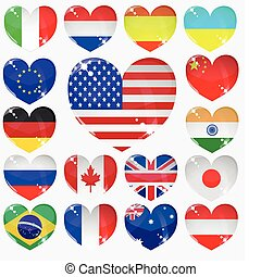 set from the hearts of flags
