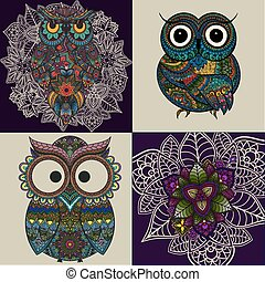 Set from Vector illustration of ornamental owls. Set of Bird illustrated in tribal. Isolated on white