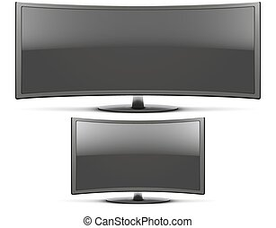 Set Frontal view of curved widescreen led or lcd tv monitor