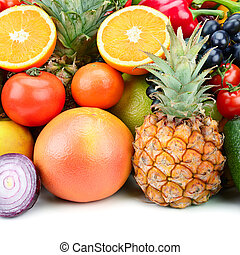set fruit and vegetable background