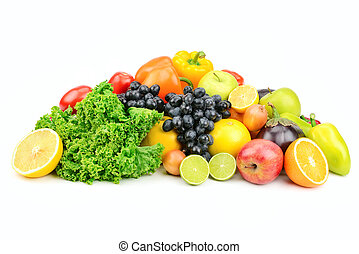 set fruit and vegetables isolated on white