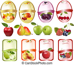 set, fruit, bes, etiketten