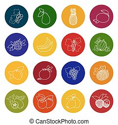 Set Fruit Icons, Colorful Icons of Fruits and Berries, Icons...