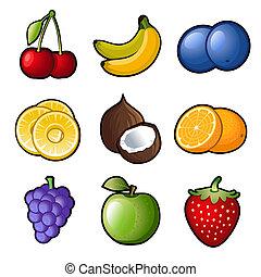 Set fruit icons on white background. Vector.