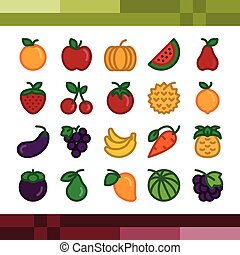 set, fruit, illustration., vector, iconen