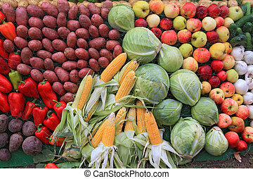 set fruit on rural market