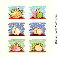 set fruits healthy food