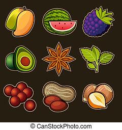 set, frutta, icone