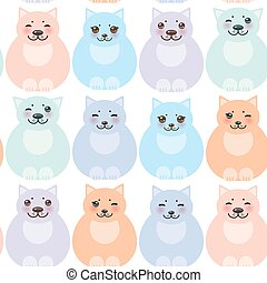 set funny cats, pastel colors on white background seamless pattern. Vector