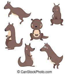 Set funny kangaroos