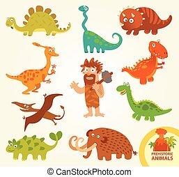 Set funny prehistoric animals. Caveman, allosaurus, ...