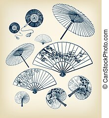 set, funs, japanner, illustratie, traditionele , vector, ontwerp, paraplu's, communie