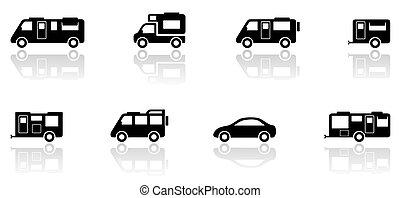 set, furgone, icone, roulotte, campeggiatore, o