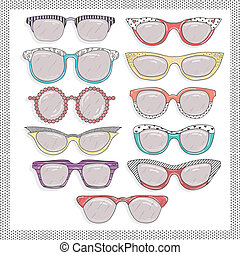 set., gafas de sol, retro