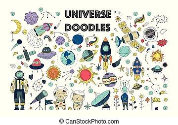 set., galaxie, universum, raum, gekritzel
