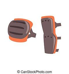 set, gamba, schermi, oggetto, isolato, apparecchiatura, protezione, ginocchio, parte, munizioni, bmx, cavaliere