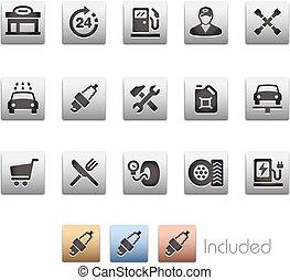 set, gas, -, stazione, serie, metalbox, icona