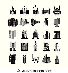 set, gebouwen., vector, gevarieerd, achtergrond, witte