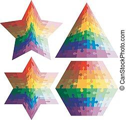 set, gedaantes, raadsel, jigsaw, kleuren, vector, rainbow., geometrisch, illu