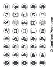 set, gegevensverwerking, wolk, pictogram