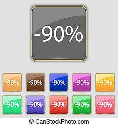 set, gekleurde, aanbod, procent, verkoop, symbool., meldingsbord, knopen, korting, vector, label., 90, icon., bijzondere