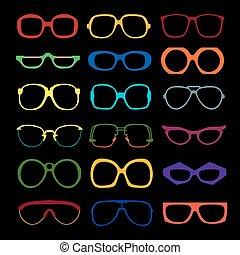 set, gekleurde, frames., glasses., vector, hipster, geek, ...
