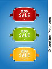 set, gekleurde, groot, teken., verkoop, raad