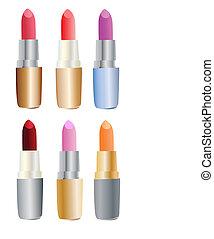 set, gekleurde, lipsticks
