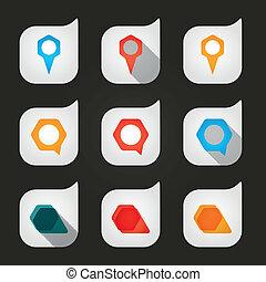 Set, gekleurde, ruimte, iconen, aanwijzen, lege