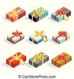 set, gekleurde, vrijstaand, giftboxes, linten, 3d