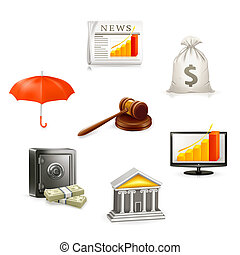 set, geld, vector, pictogram