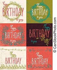 set, gelukkige verjaardag, hand, lettering, kalligrafie