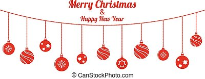 set, gelul, achtergrond, hangend, witte kerst, rood