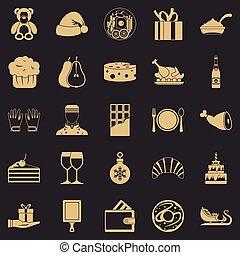 set, generosità, stile, icone semplici