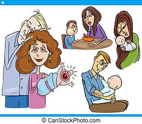 set, genitori, cartone animato, bambini