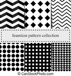 Set geometric vector pattern. Checkered seamless background