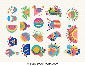 Set geometry element symbol abstract colorful